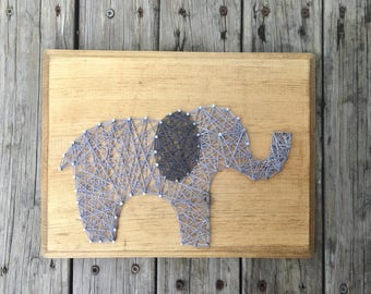 Elephant String Art, Elephant Gifts, Nail And String Art, Wood Baby Elephant, Wood Elephant Art, Baby Elephant Sign, Rustic Elephant Sign