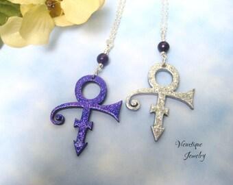Prince Tribute Necklace, Prince Necklace, Prince Jewelry, Purple Rain Pendant, Prince Pendant, Prince Symbol, Prince Charm Necklace