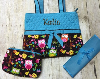 Monogrammed diaper bag 3 piece set personalized blue owl