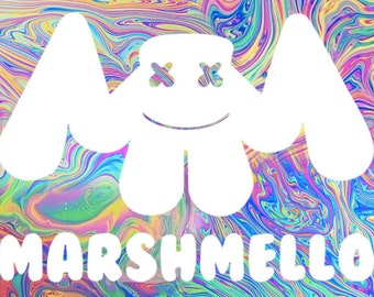Marshmello Rainbow Swirl Flag