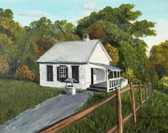 "Vale Schoolhouse, Oakton, Virginia, 11""x 14"", Oil on Canvas, by Anna Willard, AnnaWillardArt.com"