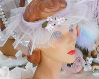 Lovely 1940's Pale Purple/Lilac Open Crown Hat -  Summer Garden Party/Wedding