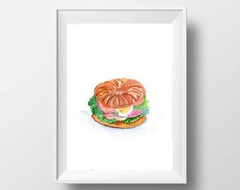 croissant sandwich watercolor painting food decor kitchen food print wall art kitchen picture nursery food art french food poster decal