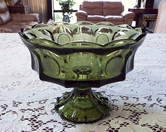 Vintage Fostoria Olive Green Coin Pedestal Open Compote Bowl 8 1/2""