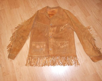 Hippie fringe suede /leather jacket from the seventies