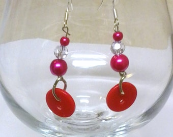 Red Button and Bead Dangle & Drop Earrings, Handmade Jewelry