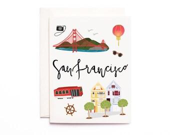 San Francisco Card, Illustrated San Francisco Greeting Card, San Francisco Gift