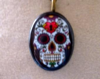 Pendant skull skull Mexican porcelain