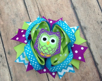 Owl Hair Bow - Owl Hairbow - Owl - Owl Hair Clip - Owl Bow - Lime and Purple Owl - Felt Owl Bow - Bright Owl - Bright Hair Bow