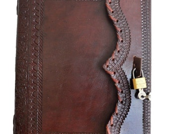 """Handmade Large 10"""" Embossed Leather Journal with LOCK & KEY - Secret Diary Journal"""