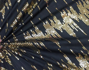 60 in w black stretch fabric w Gold sequin Fabric by the yard