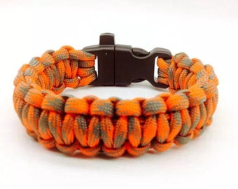Paracord Bracelet Orange/Teal camo with Whistle Handmade Camo Survival Hiking Hunting USA Made