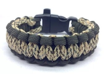 Paracord Bracelet Digital Desert Camo/OD Green with Whistle Handmade Camo Survival Hiking Hunting USA Made