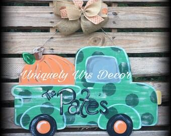 Fall Truck Door Hanger, Pumpkin Door Hanger, Fall Door Hanger, Door Hanger Truck Door Hanger