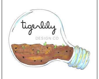 Instant Download Logo | Lightbulb Terrarium Logo | Terrarium Logo | Clean Nature Terrarium Logo | Premade Logo