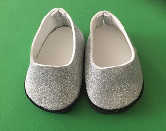 Doll shoes silver sparkly shoes glitter doll shoes 18 inch doll shoes