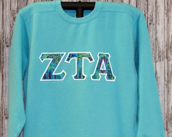 Sorority Letter Shirt, Lagoon Blue Shirt with Tropical Batik Sorority Double Stitched Letters