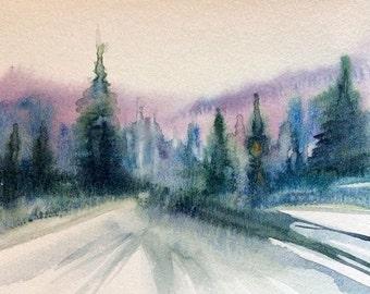 Pine trees, pine tree painting, Misty pines, watercolor trees, forest painting, pine forest, tree painting, Misty trees, Misty forest