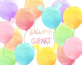 Pastel Balloon Clipart, Balloons clip art, Birthday Clipart, Watercolor clipart, for personal and commercial use, planner stickers