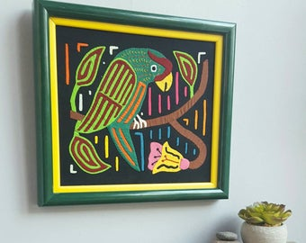 Vintage Parrot and Flowers Mola in Bright Green Frame, 1970s, Hand Sewn Folk Art of Panama and Colombia, Kuna Textile Art, Boho Latin Decor