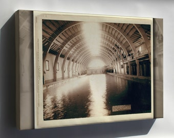 Canvas 24x36; Grabill Hot Springs, Interior View Of Largest Plunge Bath House In Us
