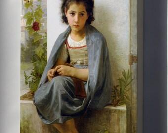 Canvas 24x36; Little Knitter William-Adolphe Bouguereau (1825-1905) - The Little Knitter (1882