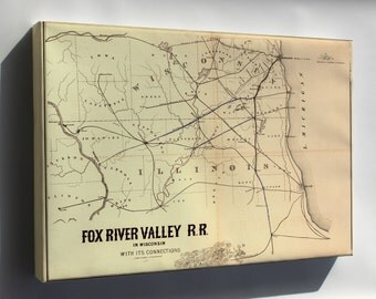 Canvas 24x36; Map Fox River Valley Railroad Wisconsin 1857