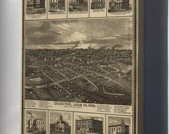 Canvas 24x36; Birdseye View Map Of Chariton Iowa 1875