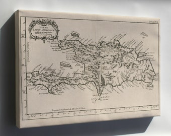 Canvas 24x36; Map Of Hispaniola Haiti Dominican Republic 1764