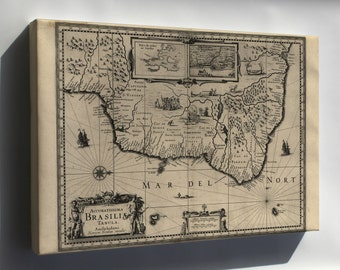 Canvas 24x36; Map Of Brazil 1630