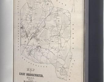 Canvas 24x36; Map Of East Bridgewater, Massachusetts 1848