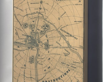 Canvas 24x36; Map Of Richmond Virginia 1864