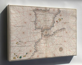 Canvas 24x36; Map Of Spain And Straits Of Gibraltar 1544
