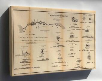 Canvas 16x24; Map Defenses Of Charleston, South Carolina 1865