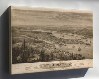 Canvas 16x24; Birdseye View Map Of Olympia, Puget Sound, Washington Territory, 1879