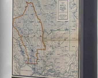 Canvas 16x24; Map Of Napa & Solano Counties California 1908