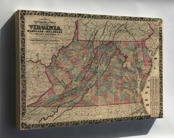 Canvas 16x24; Topography Map Virginia Maryland Delaware 1862 P2