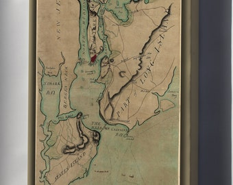 Canvas 16x24; Map Of New York Staten Island Long Island 1780