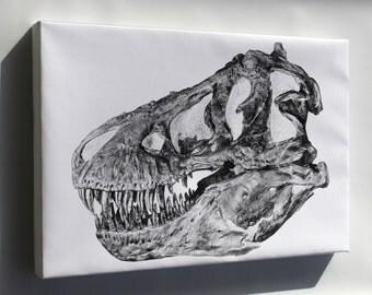 Canvas 16x24; Tyrannosaurus Rex Skull