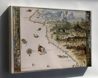 Canvas 16x24; First Map Of Australia From Nicholas Vallard'S Atlas, 1547