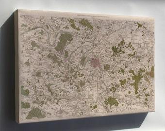 Canvas 16x24; Map Of Paris France 1756