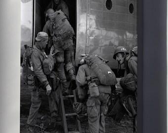 Canvas 16x24; Airborne Paratroops Board For Parachute Drop Korean War 1950
