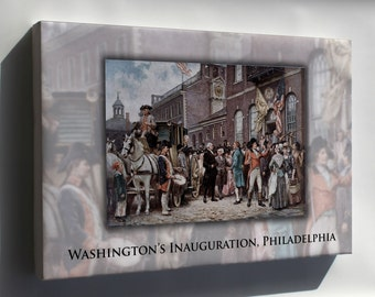 Canvas 16x24; George Washington'S Inauguration At Philadelphia By Jean Leon Gerome Ferris