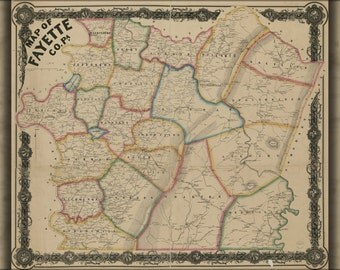 16x24 Poster; Map Of Fayette Co. Pennsylvania 1858 P1