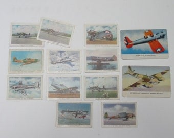 1930s Wings Cigarettes Premium Trading Cards Series C Set of 10 Plus 2 Aeroplanes Cards