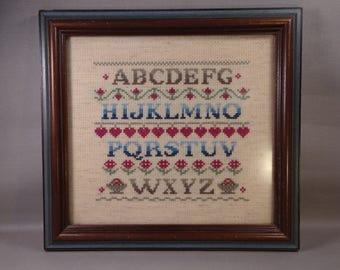 Framed Alphabet Sampler with Hearts, Flowers, Fruit