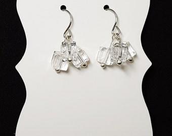 Crystal Triple Cubed Unique Shiny Dangle Earrings, Simple yet Elegant