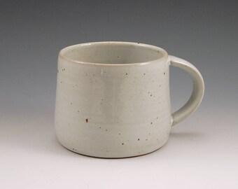 Large 16 oz Ceramic Mug, White Glazed Rustic Mug, White Stoneware Mug, White Coffee Mug, Beer Mug Stein, Reduction Gas Fired