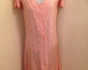 1920s Peachy Pink Silk Dress Size S/M