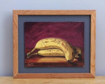 Framed Original Oil Painting Still Life, Ripe Bananas by Aleksey Vaynshteyn